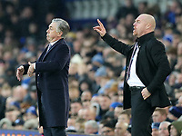 26th December 2019; Goodison Park, Liverpool, Merseyside, England; English Premier League Football, Everton versus Burnley; Everton manager Carlo Ancelotti  and Burnley manager Sean Dyche  gesture to their players from the touchline - Strictly Editorial Use Only. No use with unauthorized audio, video, data, fixture lists, club/league logos or 'live' services. Online in-match use limited to 120 images, no video emulation. No use in betting, games or single club/league/player publications