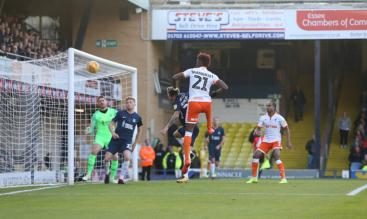 Blackpool's Armand Gnanduillet goes close with a first half header<br /> <br /> Photographer Rob Newell/CameraSport<br /> <br /> The EFL Sky Bet League One - Southend United v Blackpool - Saturday 17th November 2018 - Roots Hall - Southend<br /> <br /> World Copyright © 2018 CameraSport. All rights reserved. 43 Linden Ave. Countesthorpe. Leicester. England. LE8 5PG - Tel: +44 (0) 116 277 4147 - admin@camerasport.com - www.camerasport.com