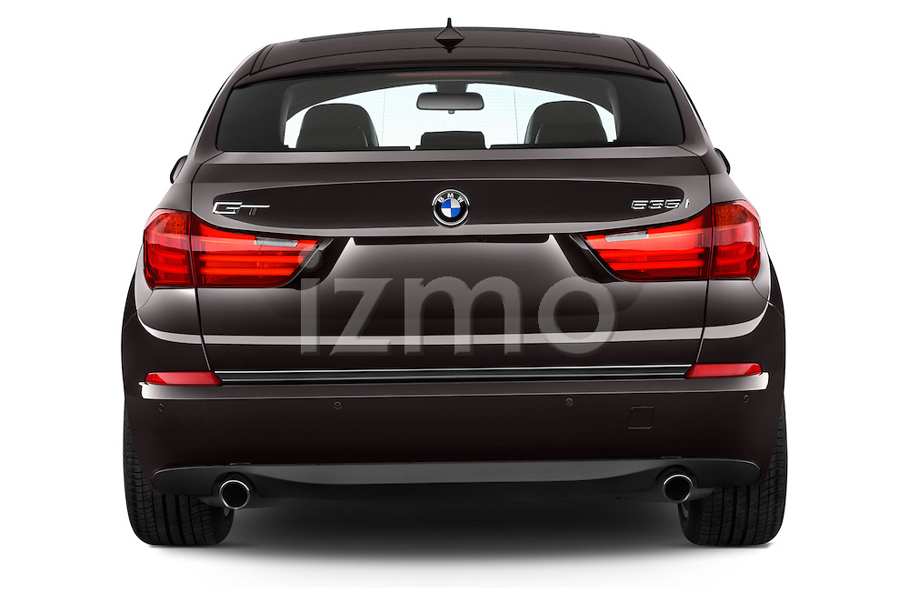 Straight rear view of a 2015 BMW 5 Series 535I Luxury 5 Door Hatchback 2WD Rear View  stock images