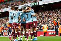 GOAL - John McGinn of Aston Villa is mobbed during the Premier League match between Arsenal and Aston Villa at the Emirates Stadium, London, England on 22 September 2019. Photo by Carlton Myrie / PRiME Media Images.