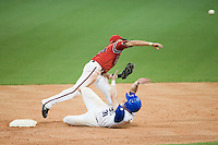 20 August 2007: Second Base #18 Ondrej Petrik throws to first base as #31 Anthony Cros slides into second base during the Czech Republic 6-1 victory over France in the Good Luck Beijing International baseball tournament (olympic test event) at the Wukesong Baseball Field in Beijing, China.