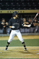 Zach Seal (10) of the Wake Forest Demon Deacons at bat against the Virginia Cavaliers at David F. Couch Ballpark on May 18, 2018 in  Winston-Salem, North Carolina.  The Cavaliers defeated the Demon Deacons 15-3.  (Brian Westerholt/Four Seam Images)