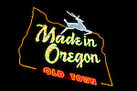 Exterior of the Made in Oregon sign at night, Portland