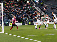 Goalkeeper Ryan Goodfellow and Lewis Martin can only watch as the header from John Herron goes towards goal in the Dunfermline Athletic v Celtic Scottish Football Association Youth Cup Final match played at Hampden Park, Glasgow on 1.5.13.