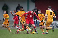 Jordan Clark of Hornchurch and Emmanuel Fernandez of Merstham during Hornchurch vs Merstham, BetVictor League Premier Division Football at Hornchurch Stadium on 15th February 2020