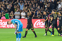 Los Angeles, CA - October 24, 2019.  Carlos Vela celebrates the first of his two goals as LAFC defeated the Los Angeles Galaxy 5 - 3 in the Western Conference semifinal match at Banc of California stadium in Los Angeles.