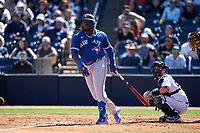 Toronto Blue Jays Vladimir Guerrero Jr. (27) bats during a Spring Training game against the New York Yankees on February 22, 2020 at the George M. Steinbrenner Field in Tampa, Florida.  (Mike Janes/Four Seam Images)