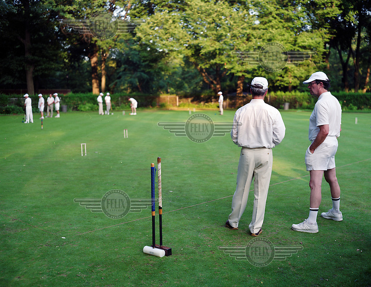 Francophiles play croquet in Central Park in New York City.