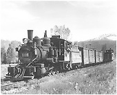 3/4 fireman's-side view of C-19 #340 with freight train.<br /> D&amp;RGW