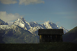 Wooden animal shelter silhouetted against snow capped mountains. Imst district, Tyrol, Tirol, Austria.