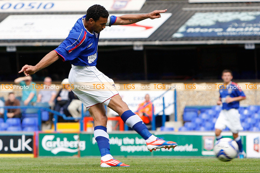Carlos Edwards (Ipswich Town) shoots at goal - Ipswich Town vs. West Ham United - Pre-Season Friendly at Portman Road, Ipswich - 04/08/12 - MANDATORY CREDIT: Matt Bradshaw/TGSPHOTO/PIXEL8 - Self billing applies where appropriate - 0845 094 6026 - contact@tgsphoto.co.uk - NO UNPAID USE.