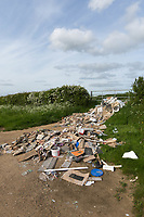 Builders rubbish dumped in a farmers gateway<br /> &copy;Tim Scrivener Photographer 07850 303986<br /> ....Covering Agriculture In The UK....