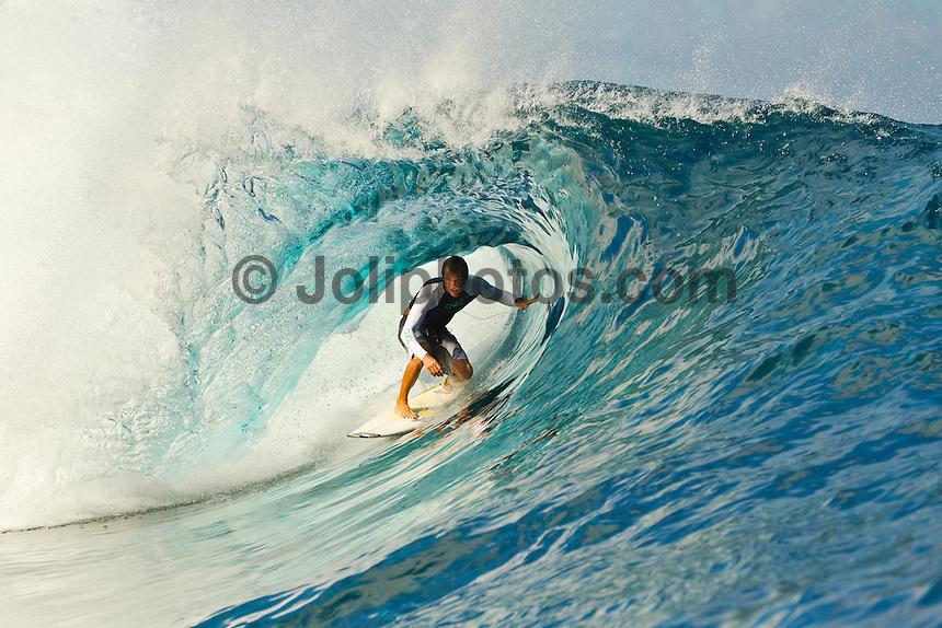 Teahupoo, Tahiti Iti, French Polynesia. Thursday August 17 2011. Cory Lopez (USA).  A south  west swell was hitting the main reef today with clean open barrels in the six foot range. Photo: joliphotos.com