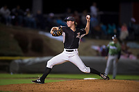 Salem-Keizer Volcanoes relief pitcher Greg Jacknewitz (33) delivers a pitch during a Northwest League game against the Eugene Emeralds at Volcanoes Stadium on August 31, 2018 in Keizer, Oregon. The Eugene Emeralds defeated the Salem-Keizer Volcanoes by a score of 7-3. (Zachary Lucy/Four Seam Images)