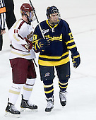Pat Mullane (BC - 11), Mike Collins (Merrimack - 13) - The Boston College Eagles defeated the visiting Merrimack College Warriors 4-3 on Friday, November 16, 2012, at Kelley Rink in Conte Forum in Chestnut Hill, Massachusetts.