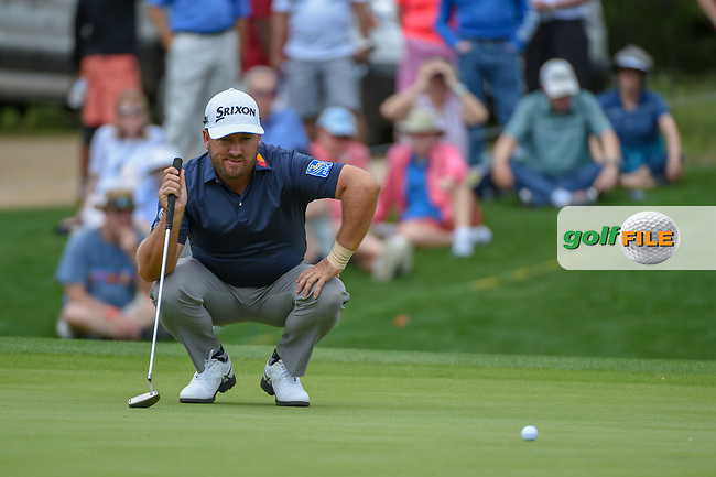 Graeme McDowell (NIR) lines up his putt on 1 during day 1 of the Valero Texas Open, at the TPC San Antonio Oaks Course, San Antonio, Texas, USA. 4/4/2019.<br /> Picture: Golffile | Ken Murray<br /> <br /> <br /> All photo usage must carry mandatory copyright credit (© Golffile | Ken Murray)