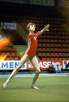 Hana Ricna of Czechoslovakia performs on floor exercise at 1985 European Championships in women's artistic gymnastics at Helsinki, Finland in late April, 1985.  Photo by Tom Theobald.