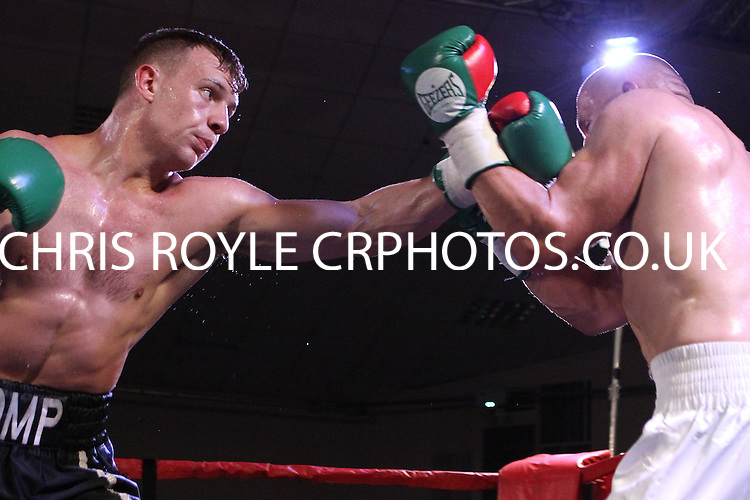 Sam Pomphrey vs Krzysztof Golec-  during a Boxing show at Bath Pavilion, Bath, Avon, promoted by Black Country Boxing Promotion on 18/07/2015 - MANDATORY CREDIT: Chris Royle/TGSPHOTO