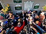 LOUISVILLE, KY - MAY 01: Trainer Bob Baffert is surrounded by media asking questions about his morning line favorite and Kentucky Derby hopeful Justify after his first visit to the Churchill Downs surface on May 1, 2018 in Louisville, Kentucky. (Photo by Scott Serio/Eclipse Sportswire/Getty Images)