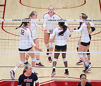STANFORD, CA - November 4, 2018: Kathryn Plummer, Jenna Gray, Audriana Fitzmorris, Tami Alade, Meghan McClure, Morgan Hentz at Maples Pavilion. No. 2 Stanford Cardinal defeated the Utah Utes 3-0.