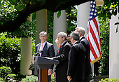 United States President George W. Bush with Deputy Secretary of Energy Clay Sell, Secretary of Transportation Mary Peters, EPA Administrator Stephen Johnson and Secretary of Agriculture Mike Johanns speaks on CAFE standards and Alternative fuel standards, in the Rose Garden of the White House in Washington, D.C. on May 14, 2007.<br /> Credit: Carol T. Powers / Pool via CNP