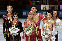 November 19, 2005; Paris, France; Figure skating stars (L-R) OLIVIER SCHOENFELDER and ISABELLE DELOBEL of France (silver), ELENA GRUSHINA and RUSIAN GONCHAROV of Russia (gold), FEDERICA FAIELLA and MASSIMO SCALI of Italy, are winners in ice dancing at Trophee Eric Bompard, ISU Paris Grand Prix competition.  They are favorites in ice dancing leading up to Torino 2006 Olympics.<br />