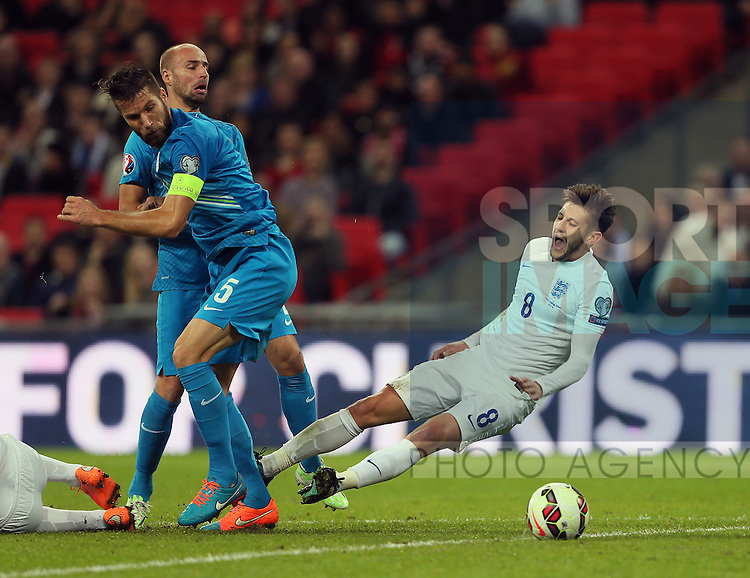England's Adam Lallana tussles with Slovenia's Bostjan Cesar<br /> <br /> - International European Qualifier - England vs Slovenia- Wembley Stadium - London - England - 15th November 2014  - Picture David Klein/Sportimage