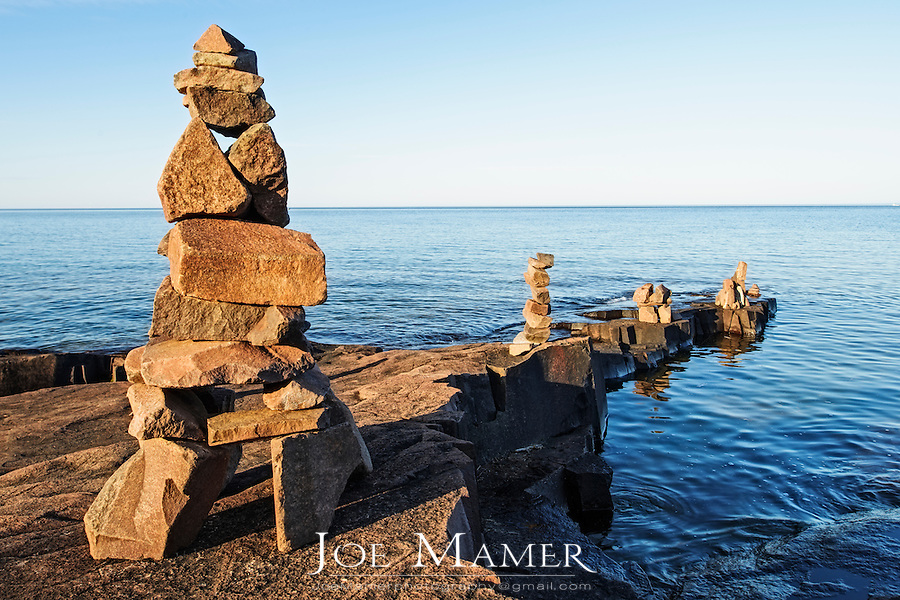 Rock sculptures or cairns along the shore of Lake Superior at Artists Point in Grand Marais.