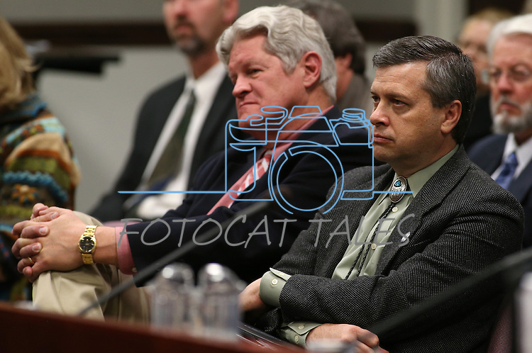 Nevada Board of Regents Ron Knecht, left, and Jason Geddes listent to higher education budget discussions at the Legislative Building in Carson City, Nev., on Tuesday, March 19, 2013..Photo by Cathleen Allison
