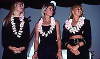 L to R Pam Burridge (AUS), Jodi Cooper (AUS) and Wendy Botha (AUS) at the ASP Awards Banquet in Honolulu, Hawaii. circa 1989 - Photo: joliphotos.com
