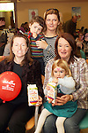 Sharon Cunningham, Adam and Fiona Carty with Siobhan and Eimear O'Dwyer at the Breakfast Morning with Mumstown.ie in Conjunction with ISPCC, Childline and Cheerios...Picture Jenny Matthews/Newsfile.ie