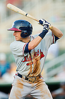 Kyle Wren (16) of the Rome Braves at bat against the Kannapolis Intimidators at CMC-Northeast Stadium on August 24, 2013 in Kannapolis, North Carolina.  The Intimidators defeated the Braves 6-1.  (Brian Westerholt/Four Seam Images)