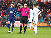 17th March 2018, Liberty Stadium, Swansea, Wales; FA Cup football, quarter-final, Swansea City versus Tottenham Hotspur; Referee Kevin Friend checks with VAR after Son Heung-Min of Tottenham Hotspur goal was ruled out on the pitch for offside