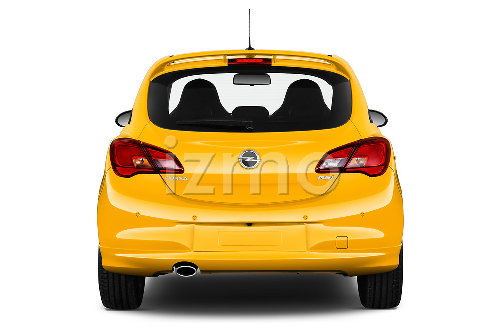 Straight rear view of 2019 Opel Corsa GSI 3 Door Hatchback Rear View  stock images