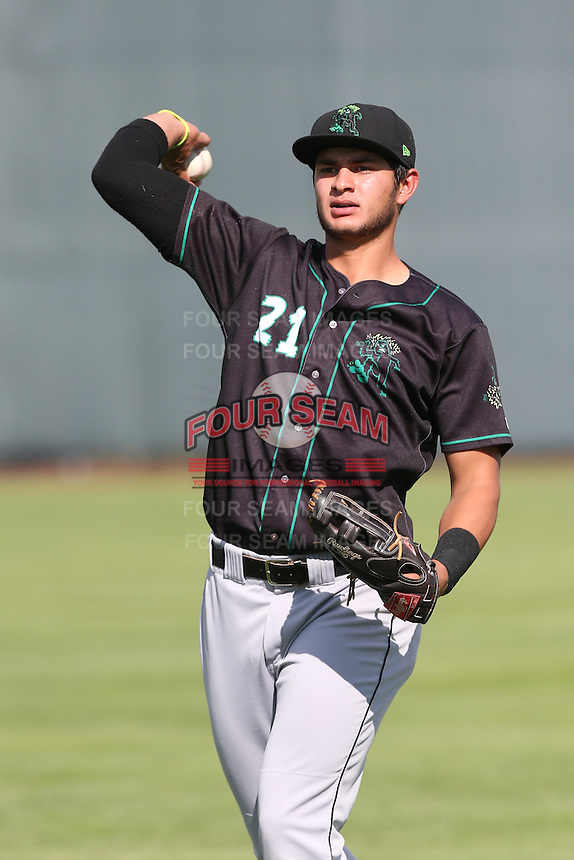 Jose Urena #21 of the Eugene Emeralds during a game against the Salem-Keizer Volcanoes at Volcanoes Stadium on July 27, 2014 in Keizer, Oregon. Salem-Keizer defeated Eugene, 9-1. (Larry Goren/Four Seam Images)