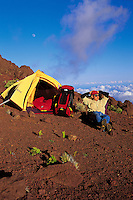 Camping in Haleakala National Park during moonrise, Maui