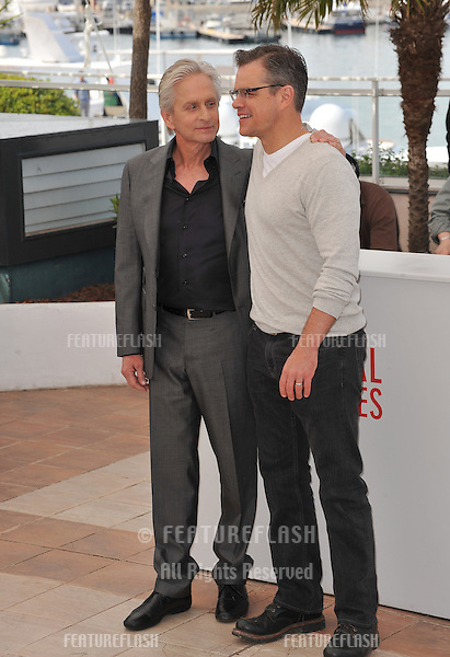 "Matt Damon & Michael Douglas at photocall for their movie ""Behind the Candelabra"" at the 66th Festival de Cannes..May 21, 2013  Cannes, France.Picture: Paul Smith / Featureflash"