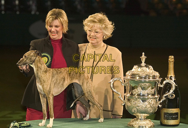 LYNN YACOBY WRIGHT & DOG DEEDEE.Winner of Best In Show title at Crufts 2004.show name: Cobyco Call The Tune.07 March 2004.dog show, pet show, animal.www.capitalpictures.com.sales@capitalpictures.com.© Capital Pictures.