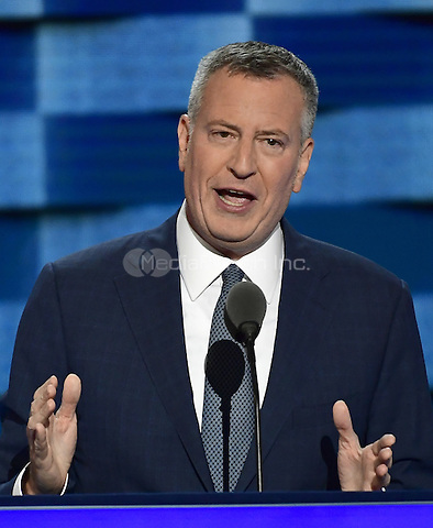 Mayor Bill De Blasio (Democrat of New York, New York) makes remarks during the third session of the 2016 Democratic National Convention at the Wells Fargo Center in Philadelphia, Pennsylvania on Wednesday, July 27, 2016.<br /> Credit: Ron Sachs / CNP/MediaPunch<br /> (RESTRICTION: NO New York or New Jersey Newspapers or newspapers within a 75 mile radius of New York City)