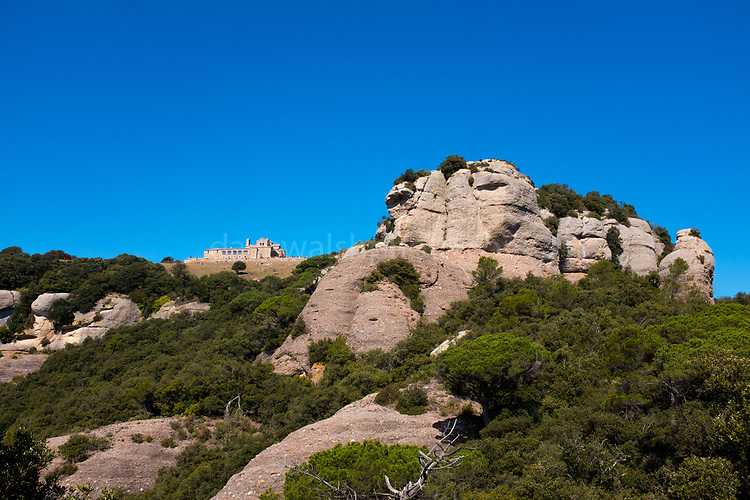 Monestir de Sant Llorenç del Munt at La Mola, a mountain in the park of Sant Llorenç del Munt i l'Obac - La Mola, Mountain, Barcelona, Catalonia, Spain