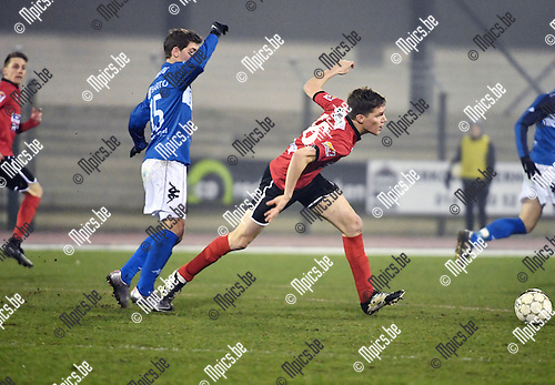 2017-02-11 / Voetbal / Seizoen 2016-2017 / FC Turnhout - Helson / Joachim Machielsen (l. Turnhout) met Joris Corthouts<br /> <br /> ,Foto: Mpics.be