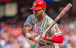 15 September 2013: Philadelphia Phillies outfielder Domonic Brown in action against the Washington Nationals at Nationals Park in Washington, DC. The Nationals took the rubber match of their 3-game series 11-2 to keep Washington's wildcard hopes alive. Mandatory Credit: Ed Wolfstein Photo *** RAW (NEF) Image File Available ***