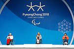 (L-R) Claudia Loesch (AUT), Anna Schaffelhuber (GER), Momoka Muraoka (JPN), MARCH 11, 2018 - Alpine Skiing : Women's Super G Sitting Medal Ceremony at PyeongChang Medals Plaza during the PyeongChang 2018 Paralympics Winter Games in Pyeongchang, South Korea. (Photo by Yusuke Nakanishi/AFLO)