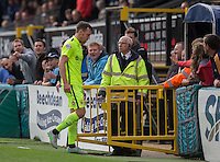 Carl Magnay of Hartlepool United walks to the tunnel after being sent off during the Sky Bet League 2 match between Wycombe Wanderers and Hartlepool United at Adams Park, High Wycombe, England on 5 September 2015. Photo by Andy Rowland.