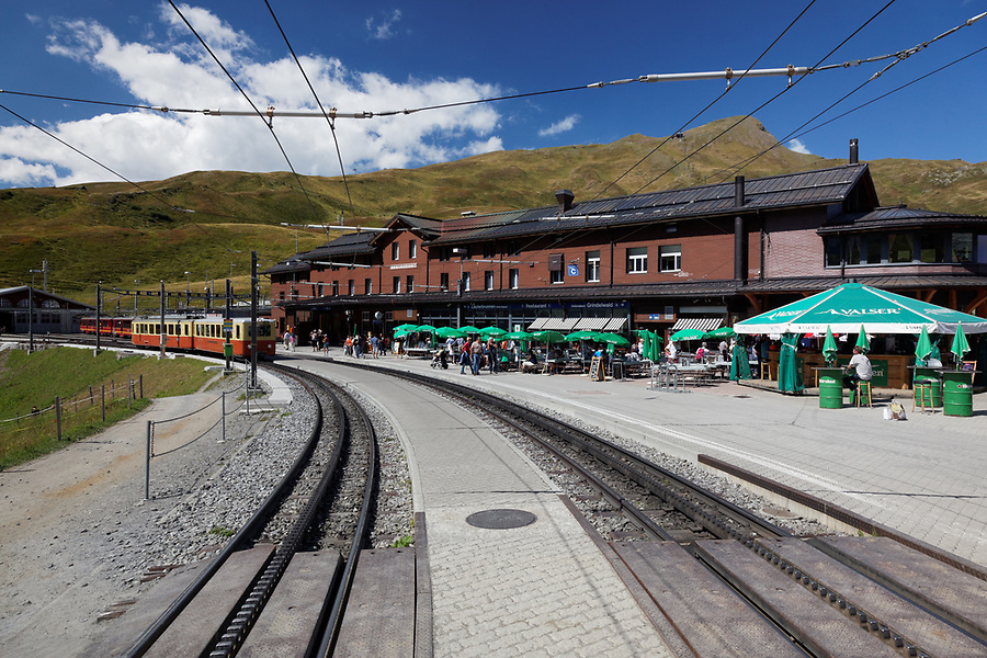 Rail station and train tracks at Kleine Scheidegg, Bernese Oberland, Switzerland