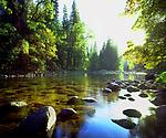 USA, California, Sierra Nevada Mountains. The Merced River. Yosemite National Park.