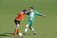 VOETBAL: JOURE: Sportpark de Hege Simmerdyk, 20-04-2013, Amateurvoetbal 2012-2013, SC Joure zat. afd. - VV Oudehaske, Sebatiaan de Leeuw (#9) Fokko Noppert (#10), Eindstand 1-1, ©foto Martin de Jong