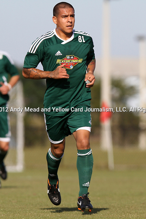 06 January 2012: Rafael Garcia (CS Northridge). The 2012 MLS Player Combine was held on the cricket oval at Central Broward Regional Park in Lauderhill, Florida.