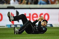 Martin Guptill takes a catch to dismiss Dawson.<br /> New Zealand Black Caps v England.Tri-Series International Twenty20 cricket. Eden Park, Auckland, New Zealand. Sunday 18 February 2018. &copy; Copyright Photo: Andrew Cornaga / www.Photosport.nz