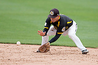 Tanner Dearman #1 of the Wichita State Shockers fields a ground ball during a game against the Missouri State Bears at Hammons Field on May 4, 2013 in Springfield, Missouri. (David Welker/Four Seam Images)